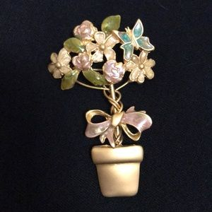 Jewelry - golden butterfly on flower in pot brooch